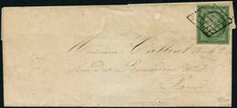 Lettre N°2 15c Vert Obl Grille, Petite Fente En Haut Signé Calves - TB - 1849-1850 Ceres