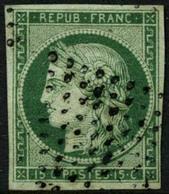 Oblit. N°2b 10c Vert Foncé, Obl étoile Signé Scheller - TB - 1849-1850 Cérès