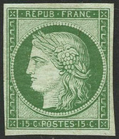 ** N°2e 15c Vert Réimp - TB - 1849-1850 Ceres