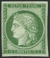 ** N°2e 15c Vert Réimp - TB - 1849-1850 Cérès