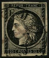 Oblit. N°3 20c Noir S/jaune, Obl CàD Type 14, Signé Calves - B - 1849-1850 Ceres