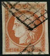 Oblit. N°5 40c Orange, Marges énormes, Signé Calves - TB - 1849-1850 Cérès