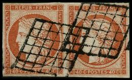 Oblit. N°5 40c Orange, Paire Signé Brun  - TB - 1849-1850 Cérès