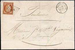 Lettre N°5 40c Orange Vif Obl PC 2781 à Coté CàD Salies Du Salat 8/7/54 Cachet D'arrivée Au Verso - TB - 1849-1850 Cérès