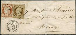 Lettre N°5 + 9 Jolie Combinaison à 50c Obl PC 776 (18/10/53) Cachet D'arrivée Au Verso - TB - 1849-1850 Ceres