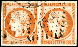 Oblit. N°5a 40c Orange Vif, Paire Obl DS2 - TB - 1849-1850 Ceres