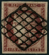 Oblit. N°6 1F Carmin, Signé Calves Et Brun - TB - 1849-1850 Cérès