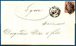 Lettre N°6 1F Carmin S/lettre, Obl Grille S/lettre - TB - 1849-1850 Cérès