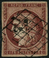Oblit. N°6B 1F Carmin-brun - TB - 1849-1850 Cérès