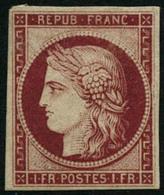 ** N°6F 1F Carmin, Réimp, Signé Calves - TB - 1849-1850 Ceres