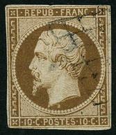 Oblit. N°9 10c Bistre,obl Grille Beau 2ème Choix - B - 1852 Louis-Napoléon