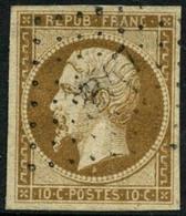 Oblit. N°9 10c Bistre, Infime Pelurage Au Verso - B - 1852 Louis-Napoléon