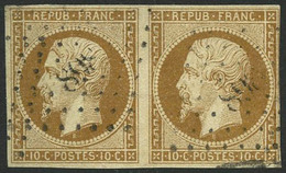 Oblit. N°9  10c Bistre, Paire Obl PC - TB - 1852 Luigi-Napoleone