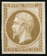 ** N°9e 10c Bistre, Réimp, Pli De Gomme Vertical - B - 1852 Louis-Napoléon