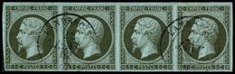 Oblit. N°11 1c Olive, Bande De 4 Obl Càd - TB - 1853-1860 Napoleone III
