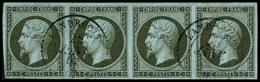Oblit. N°11 1c Olive, Bande De 4 Obl Càd - TB - 1853-1860 Napoléon III