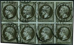 Oblit. N°11a 1c Bronze, Bloc De Huit Obl Càd Défauts - B - 1853-1860 Napoleone III