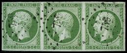 Oblit. N°12 5c Vert, Bande De 3 - TB - 1853-1860 Napoleon III
