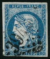 Oblit. N°44A 20c Bleu R1, Type I Infime Pelurage - B - 1870 Emission De Bordeaux