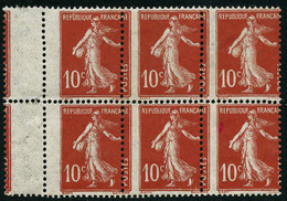 ** N°138 10c Rouge, Bloc De 6 Décalage Latéral Du Piquage - TB - France
