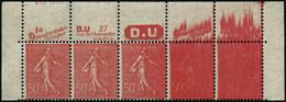 ** N°199 50c Rouge Avec Pub, Bande De 5 Impression Progressivement Défectueuse, RARE - TB - Non Classés