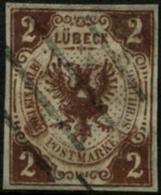 Oblit. N°4a 2 1/2 Brun (erreur 2 Weieinhalb) Qualité Standard - B - Luebeck