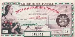 ¤¤   -   1/10 D'un Billet De La LOTERIE NATIONALE De 1941   -   Billet De La Renaissance Française   -  ¤¤ - Billets De Loterie
