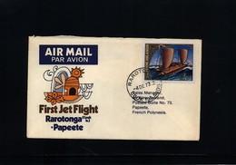 Cook Islands 1973 First Jet Flight Rarotonga - Papeete - Cookinseln