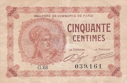 ¤¤   -   Billet De Banque De La Chambre De Commerce De Paris De 0.50 (cinquante Centimes)   -  ¤¤ - 1871-1952 Antichi Franchi Circolanti Nel XX Secolo