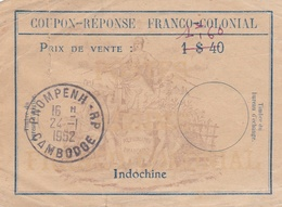 "¤¤   -   INDOCHINE  -  Billet De Banque ??  -  Coupon-Réponse "" FRANCO-COLONIAL "" - Tampon De Pnompenh En 1952   -  ¤¤ - Indochine"