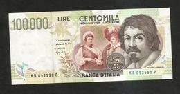 """ITALIA - BANCA D' ITALIA - 100000 Lire """"CARAVAGGIO"""" - II° Tipo (Firme: Fazio / Speziali) REPUBBLICA ITALIANA - [ 2] 1946-… : Repubblica"""
