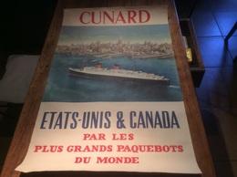 AFFICHE ORIGINALE COMPAGNIE MARITIME CUNARD PUBLICITE PAQUEBOT QUEEN ELISABETH ETATS UNIS CANADA - Affiches