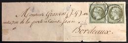 France 1853 Napoleon Devant De Bande Imprimés Avec N° 11 En Paire Oblitéré Du Dateur De Bordeaux Superbe !! - 1853-1860 Napoleon III