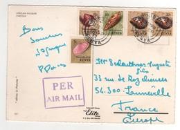 "5 Timbres , Stamps "" Coquillages "" Sur Cp , Carte , Postcard  ""guépard  "" Du 25/09/1972 - Kenya (1963-...)"