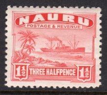 NAURU - 1937 1 1/2d SHIP STAMP SHINY PAPER FINE MINT MM * SG28B - Nauru