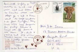 """Timbres , Stamps """" Aigle , éléphant """" Sur Cp , Carte , Postcard  """" Girafe , Safari  """" Du 08/01/1998 - Kenya (1963-...)"""