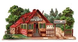 CHROMO Découpis Gaufrée Chocolat Suchard Hôtel Du Lion D'or - Suchard