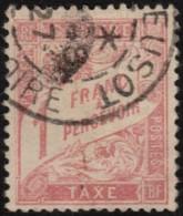 ~~~ France 1893 - Taxe 1 Franc Rose - Yv. 39 (o)  - CV 525.00 Euro ~~~ - Taxes