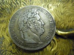 5 FRANCS ECU 1839 BB  Strasbourg ARGENT LOUIS PHILIPPE 1er Roi De France Tranche En Relief @ Le Franc F.324 - J. 5 Francs