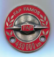 FAP FAMOS 450000km - Yugoslavia, Industrial Vehicles, Truck, Camion, Enamel, Insignia, Badge, Abzeichen, Diameter: 60mm - Camions