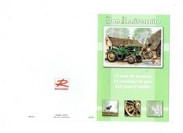Double Cpm ANNIVERSAIRE - Agriculture Ferme Tracteur Poule Coq Corbeau Matériel Agricole - Tracteurs