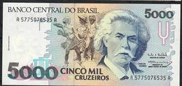 BRAZIL P232a 5000 CRUZEIROS 1990 Signature 28  #A5775 UNC. - Brésil