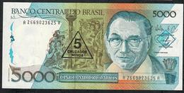 BRAZIL P217a 5 CRUZADOS NOVOS/5000 CRUZADOS 1989 #A2669 Signature 29 UNC. - Brésil