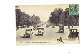 Cpa - 75 - PARIS - Avenue Champs Elysées - Animation Voiture Ancienne TAXI Moto Side-car - 244 LL - Public Transport (surface)