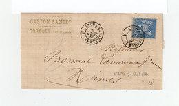 Sur Partie De Lettre Type Sage Cachet Lyon à Marseille 1878. (1072x) - Marcophilie (Lettres)