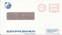 Faroe Islands Bank Cover With Meter Cancel Torshavn 3-8-1989 (Sjovinnubankin) - Faroe Islands