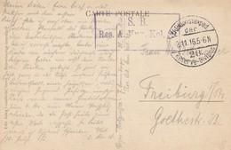 Cachet Res A. Mun Kol 39 + TàD K.D.Feldpostexped Der / 28. Reserve Division Du 2.11.16 Sur CP De GIVET Pour Freiburg - Marcophilie (Lettres)
