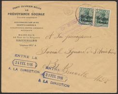 Guerre 14-18 - OC N°2x2 Sur Lettre De Charleroi (1916) + Censure De Mons 3lignes Vers Bruxelles / Parti Ouvrier - Guerre 14-18