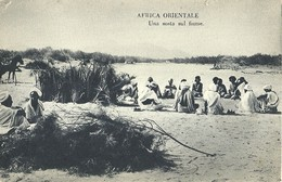 """2526 """" AFRICA ORIENTALE - UNA SOSTA SUL FIUME """" CART. ORIG. NON SPED. - Eritrea"""