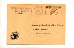 Lettre Franchise Flamme Saint Pierre Reunion Code Postal Entete Mairie - Poststempel (Briefe)